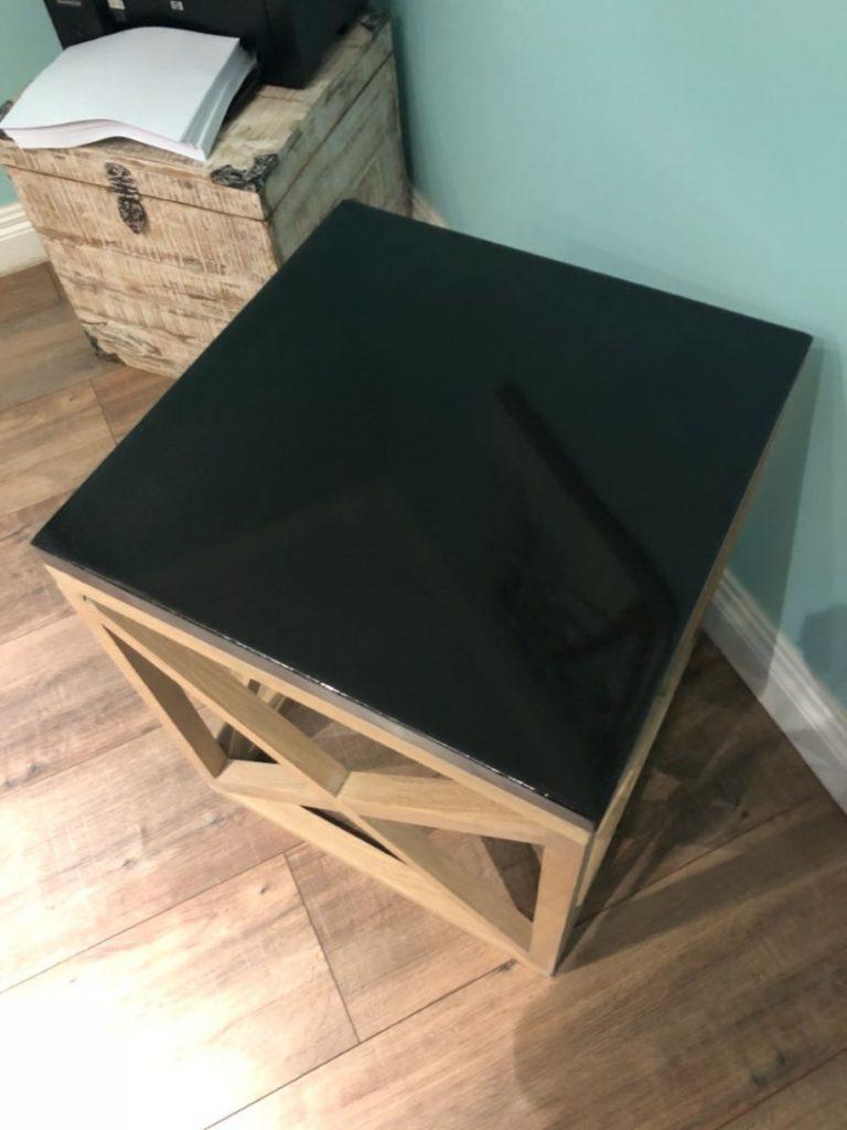Black Square Concrete Table with Oak Legs